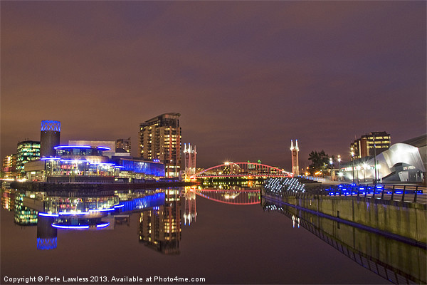 Manchester at night Canvas print by Pete Lawless
