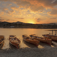 Buy canvas prints of Derwent Water Sunset by Pete Lawless