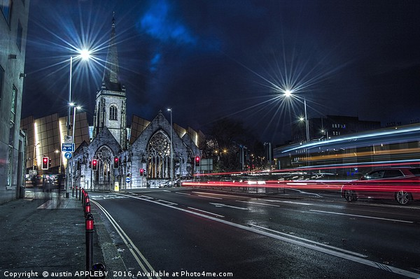 Light Trails Charles Church Plymouth Framed Mounted Print by austin APPLEBY