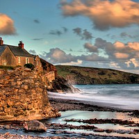 Buy canvas prints of Wembury Beach And Clouds by austin APPLEBY