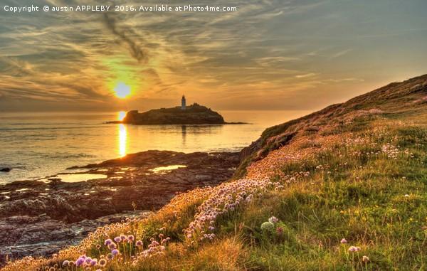 Godrevy Lighthouse Cornwall Sunset Canvas print by austin APPLEBY