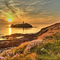 Buy canvas prints of Godrevy Lighthouse Cornwall Sunset by austin APPLEBY