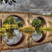 Buy canvas prints of Stirling Old Bridge Reflections by austin APPLEBY