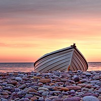 Buy canvas prints of Budleigh Boat On The Pebbles by austin APPLEBY