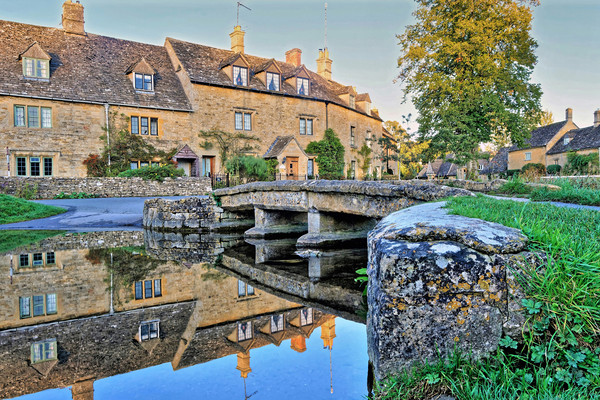 Lower Slaughter Ford Reflections Canvas print by austin APPLEBY