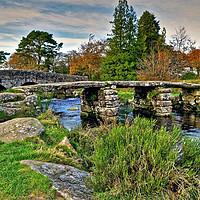 Buy canvas prints of Autumn Postbridge Clapper Bridge by austin APPLEBY