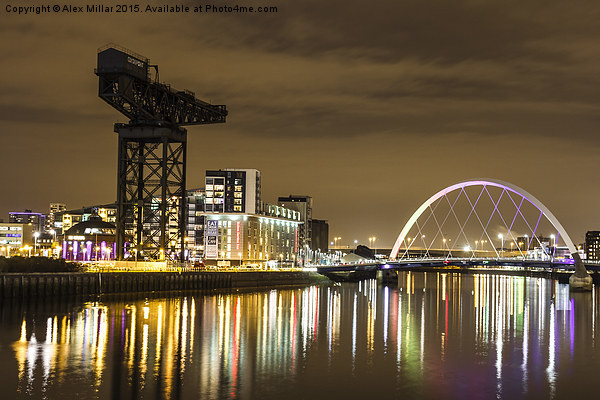 Clydeside By Night Canvas print by Alex Millar