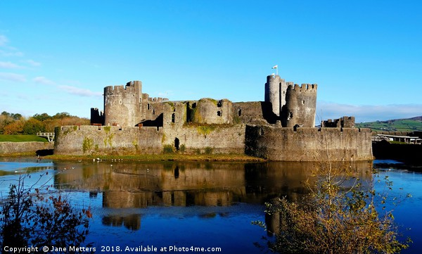 Caerphilly Castle                      Canvas print by Jane Metters