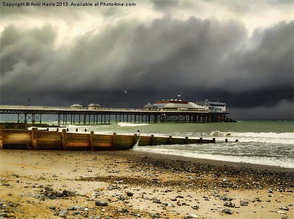 Cromer Pier Storm Canvas print by Avril Harris