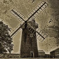 Buy canvas prints of Horsey windpump sepia by Avril Harris