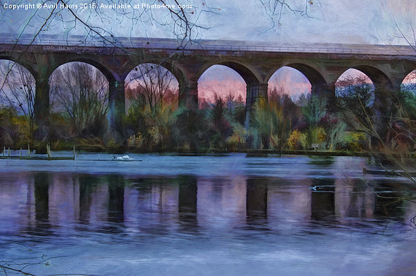 Viaduct at Reddish Vale Country Park Canvas print by Avril Harris