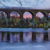 Buy canvas prints of  Viaduct at Reddish Vale Country Park by Avril Harris