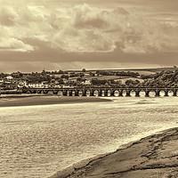 Buy canvas prints of Bideford Long Bridge Devon Sepia by Avril Harris