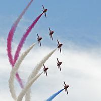 Buy canvas prints of  Red Arrows Smoke on by Claire Hartley